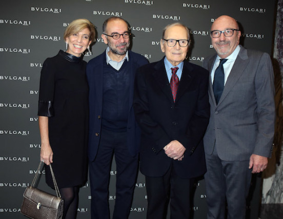 Carla Lioni, Vice President Global Marketing and Communication Bulgari Group, director Giuseppe Tornatore, composer Ennio Morricone and Lorenzo Soria, President of the Hollywood Foreign Press Association attend the Golden Globes Ceremony Honoring Ennio Morricone hosted by BVLGARI at Bulgari DOMVS on January 30, 2016 in Rome, Italy.  (Photo by Elisabetta Villa/Getty Images for BVLGARI)