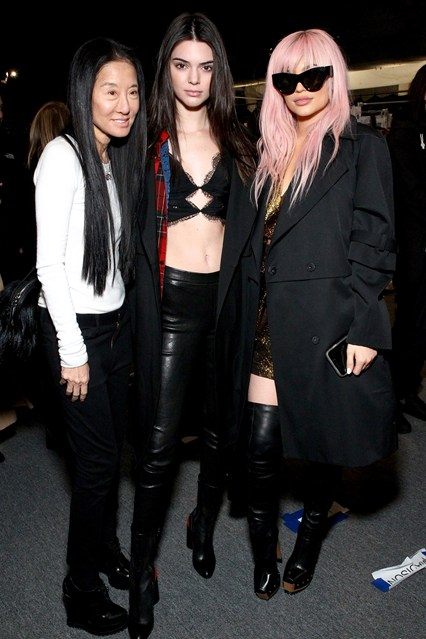 Vera Wang con Kendall e Kylie Jenner alla sfilata di Vera Wang, New York