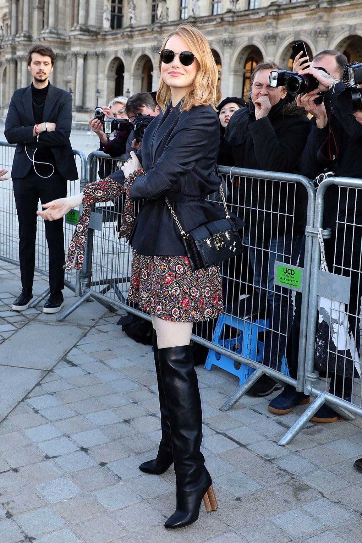 Emma Stone in Miu Miu al Miu Miu show, Paris -