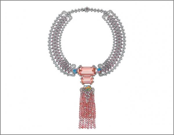Cariter Coloratura Choker Yoshino con zaffiri e diamanti più pendente