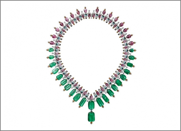 Cartier Coloratura Collana Chromaphonia con 22 smeraldi afgani, spinello, granato mandarino, onice, diamanti