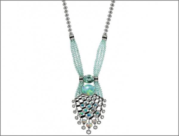 Cartier Coloratura Collana Matsuri in platino con diamanti, opali, tormalina, onice