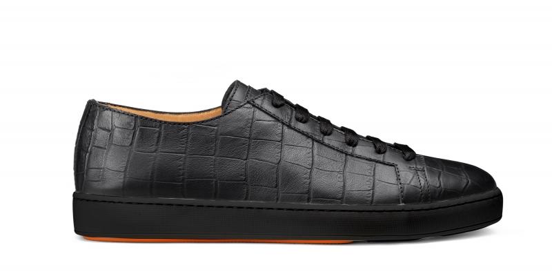 Santoni_SS18_Black croco sneaker