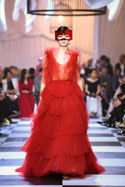 SHANGHAI, CHINA - MARCH 29:  A model walks the runway during Christian Dior Haute-Couture Spring/Summer 2018 show at MinshengArt Wharf on March 29, 2018 in Shanghai, China.  (Photo by Yanshan Zhang/Getty Images for Christian Dior Couture)