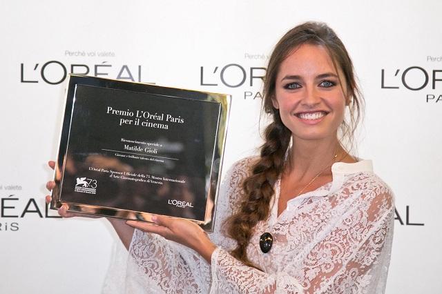 Matilde Gioli, vincitrice del Premio L'Oréal Paris per il Cinema 2016